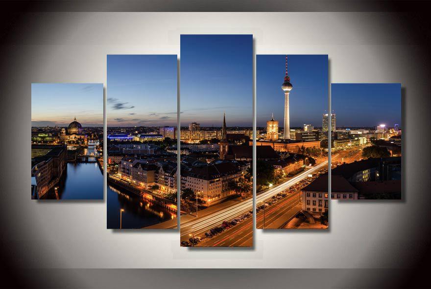 Gerahmte Gedruckt Berlin Stadt Bei Nacht Malerei Kinderzimmer Dekor Druckplakat Bild Leinwand Freies Verschiffen Jj2010
