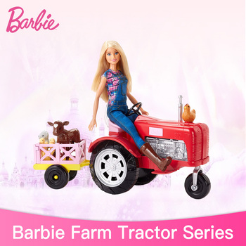 Genuine Barbie Farm and tractor Set with Animals Girls Toys Christmas Birthday Gifts Original Barbie Doll Toys for Children