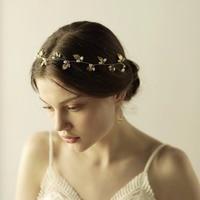 Handmade Gold Leaf Pearls Wedding Headband Bridal Silver Leaves Headbands Wedding Hair Accessories With Pendant Earrings