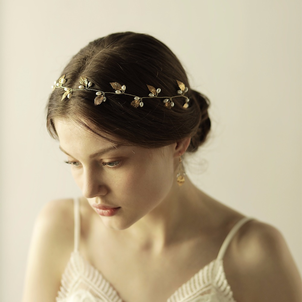 Wedding Hairstyle With Headband: Handmade Gold Leaf Pearls Wedding Headband Bridal Silver