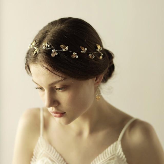 Hecho a mano hoja de oro perlas boda diadema nupcial plata hojas Bandas para  la cabeza b30182daf0e9