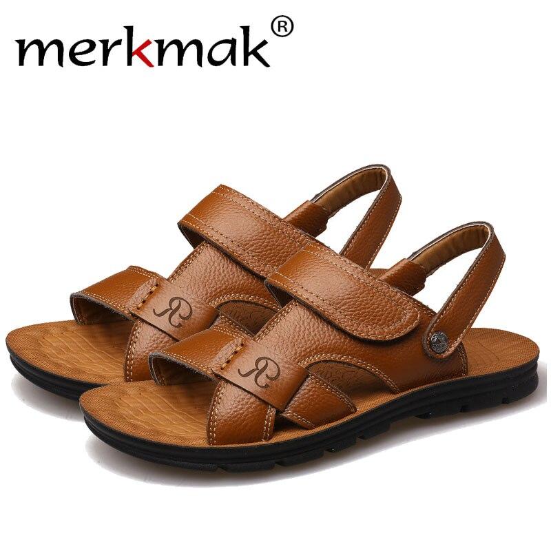 Merkmak Genuine Leather Casual Men Sandals Slippers Trendy Summer Beach Mens Flip Flops British Style Footwear Design Drop Ship