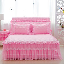 Home textile 3pcs polyester&cotton quilted bed skirt set lace beige pink bed cover princess bedspread bedcloth wedding bedding(China)