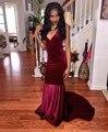 Vinho vestido de Noite Vermelho Vestidos De Robe De Soirée Vestidos de Fiesta até o Chão Profundo Decote Em V de Veludo Sereia Backless Borgonha Prom vestidos