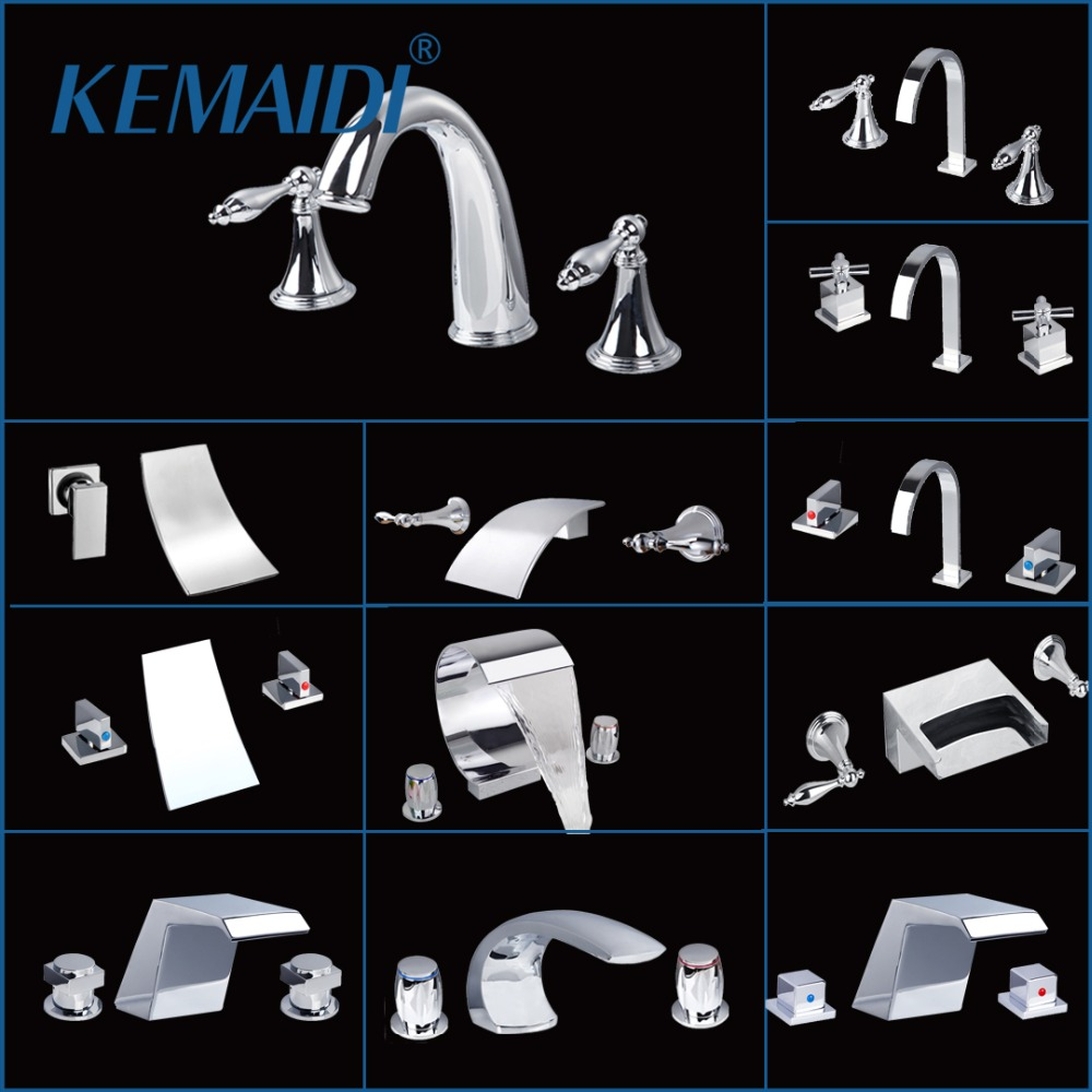 KEMAIDI Bathroom Faucet Chrome Finished Mixer Tap 3 PCS Deck Mount Widespread Waterfall Spout Brass Bathtub Faucets Mixer