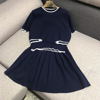 Luxury Designer Brand Women's Knitted Sets for Women Casual Badge Decorative Ice Silk Top and Pleated Skirt 2PCS Set