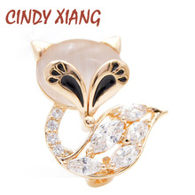 CINDY XIANG new arrival small fox collar pins for women and men unisex wedding suit brooch copper material zirconia gift