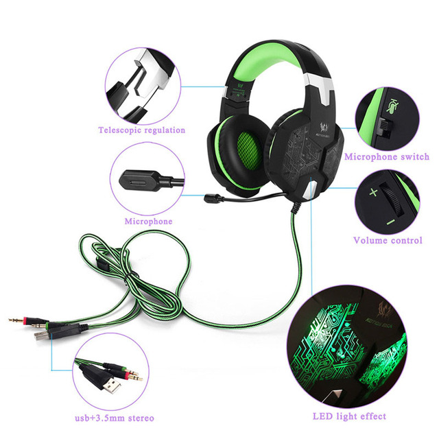 KOTION EACH Gaming Headset Gaming Headphone Earphone 3.5mm Stereo Game Headphone With Microphone Mic LED Light For Computer PC