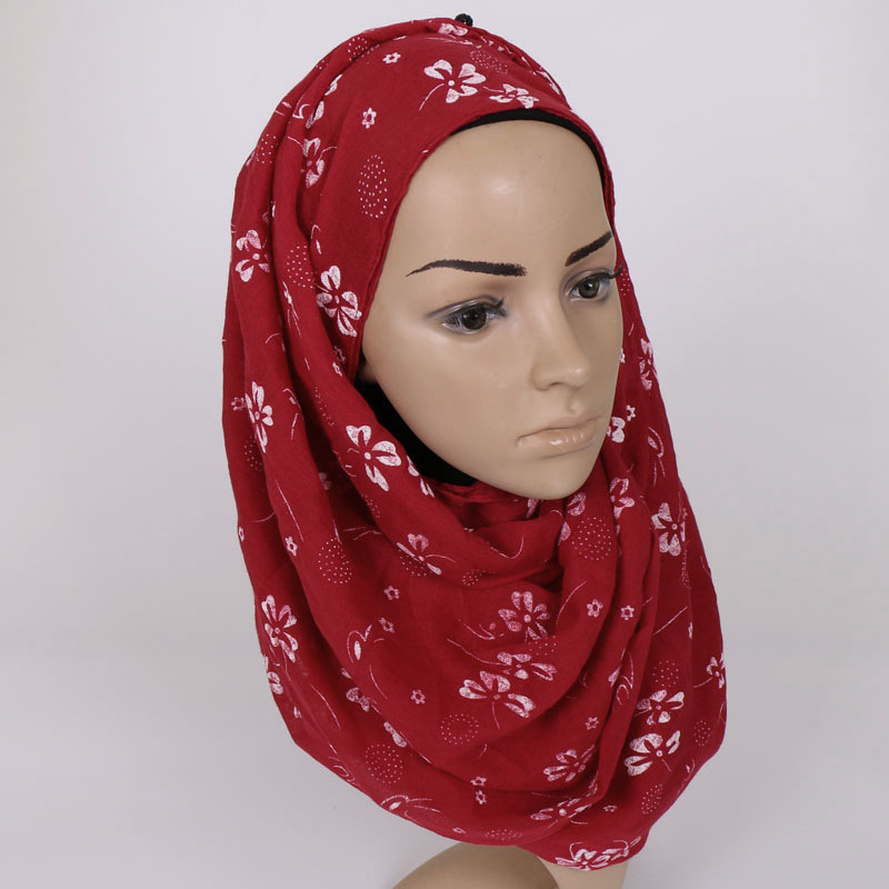 Women Cotton Scarves Muslim Hijab Female Flower Islam Headhand Scarf Luxury Brand Lady Scarves Wrap Shawl