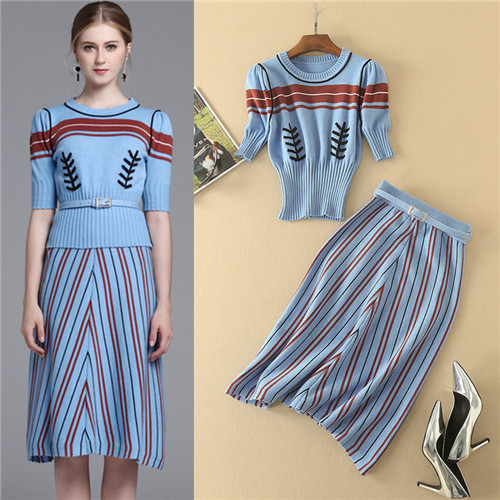 2017 Autumn Winter Fashion Blue Half Sleeve Belted Sweater 2 PieceWomen Sets Stripe knitted Suit Set Two Piece Set Top And Skirt