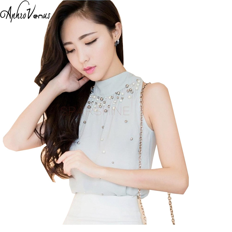 2018 New Women Beading Chiffon Blouse Fashion Sleeveless Chiffon Shirt  Women Elegant and Temperament Turtleneck Tops