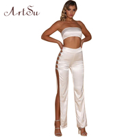ArtSu Satin Women Two Piece Set Romper Sexy Side Split Long Overalls Cropped Top Long Pant