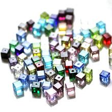 Crystal Cube Beads 100pcs/lot 4MM Wholesale Square Mixed Colors Crystal Beads Silicone Teething DIY Spacers Beads For Bracelets