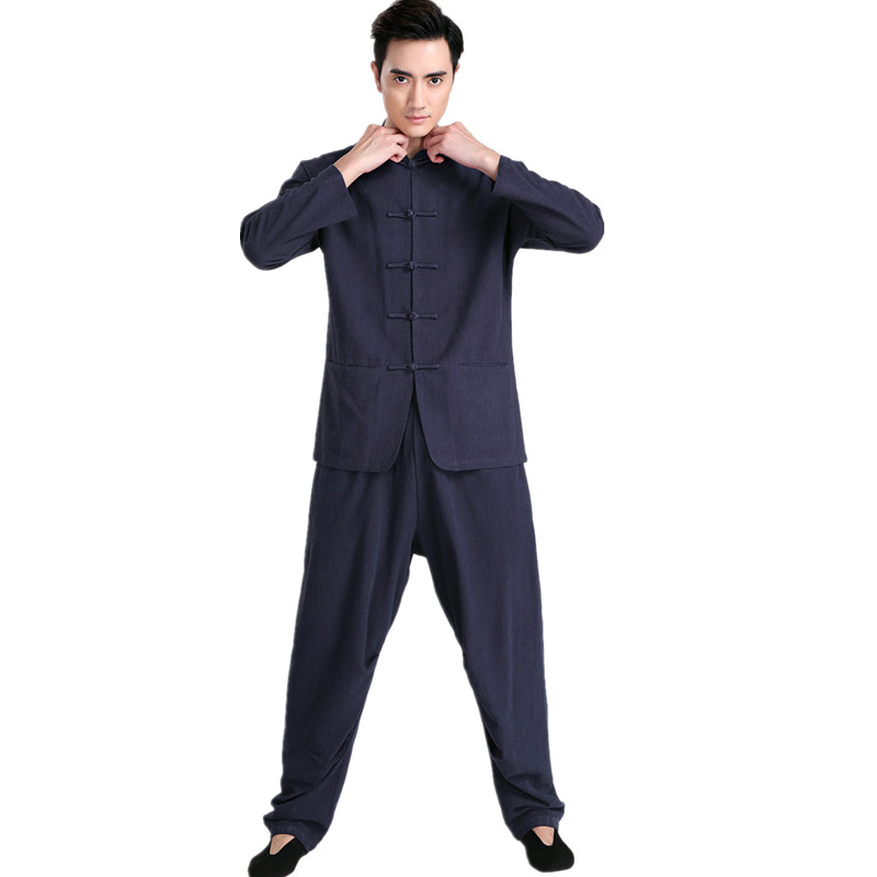 New Arrival Navy Blue Chinese Men Kung fu Uniform Cotton Tai Chi Suit Vintage Button Clothing