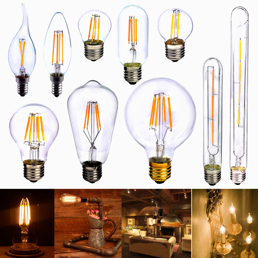 LightInBox Lamp Globe ST64 T30-185 G80 T45 A60 240V E27 2W 4W 6W 8W COB LED Vintage Retro Edison Filament Light Bulb