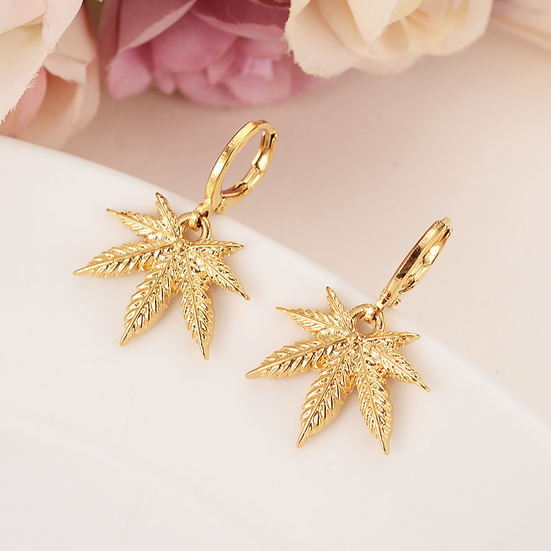 Africa Gold Color Drop Earring Women Party Gift Cannabiss Weed Marijuan Leaf Charms Girls Wedding Bridal Charms