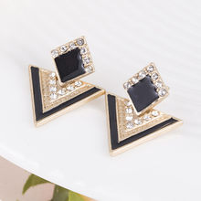 Hot Sale Brincos Colorful Enamel Rhinestone Party Earring Geometric Drop Triangle Earrings for Women Fashion Accessories Jewelry(China)
