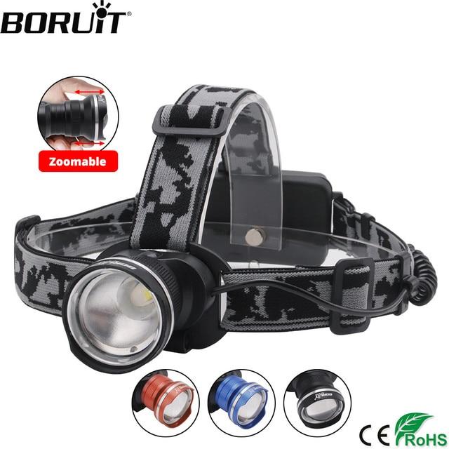 BORUiT RJ-2190 XML T6 LED faro 3 modo Zoom faro recargable linterna Camping caza Frontal linterna por 18650 batería