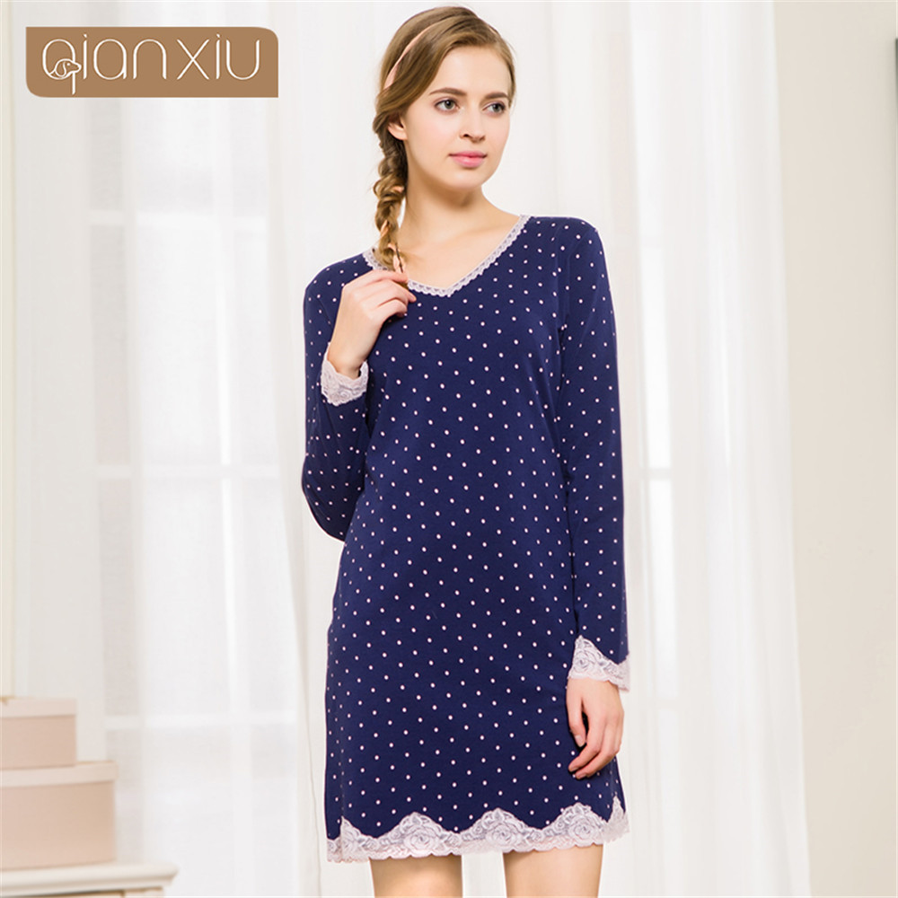 Qianxiu 2018 autumn women cotton   nightgowns   women lace   nightgowns   women   sleepshirts   Home Dress Night Shirt Sleepwear Nightwear