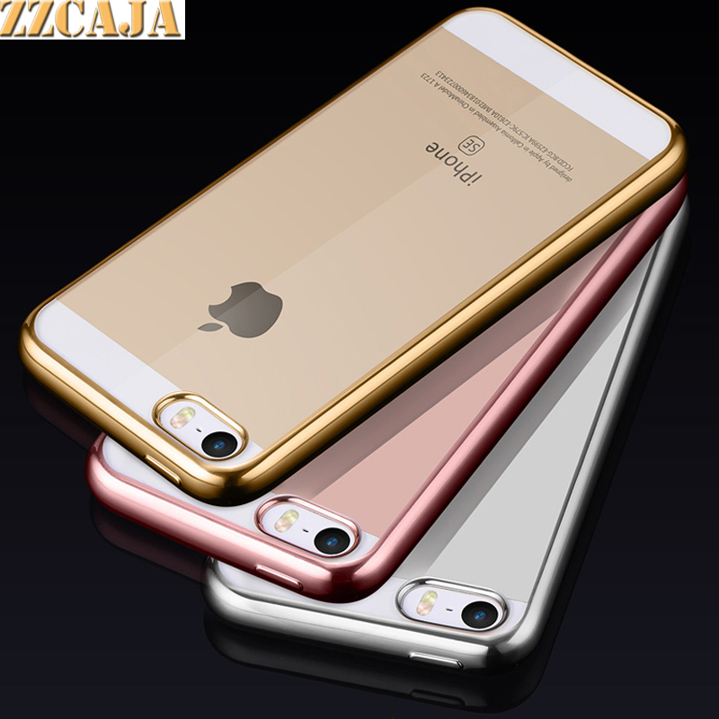 ZZCAJA For Apple iPhone SE Case Deluxe Flexible Lucid Metallic Luster Simple Clear Rose Gold Protective Covers for iPhone 5S