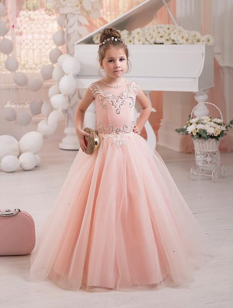 Light Pink Flower Girls Dresses Crystal Tulle Princess Ball Gowns ...