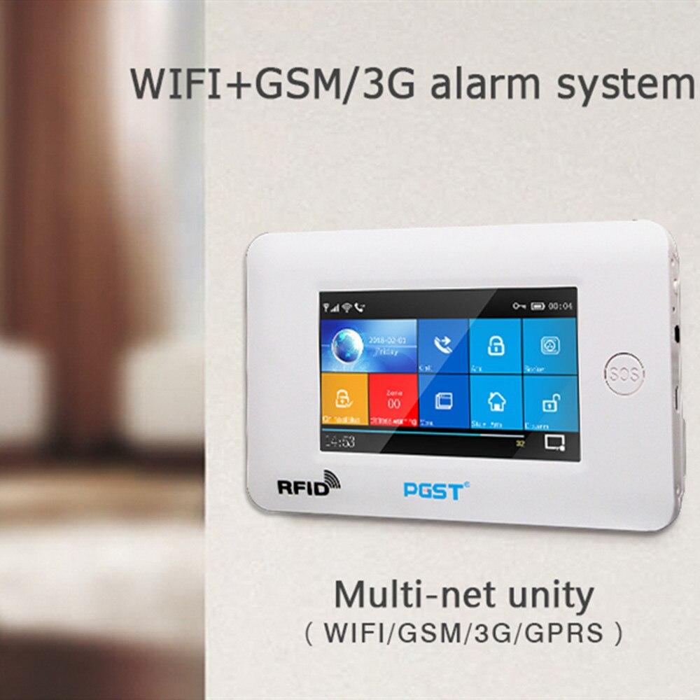 PGST 433MHz Alle Touch farbe Bildschirm Wireless WIFI GSM GPRS SOS RFID karte Einbrecher Alarm System Smart Home Sicherheit DIY Alarm