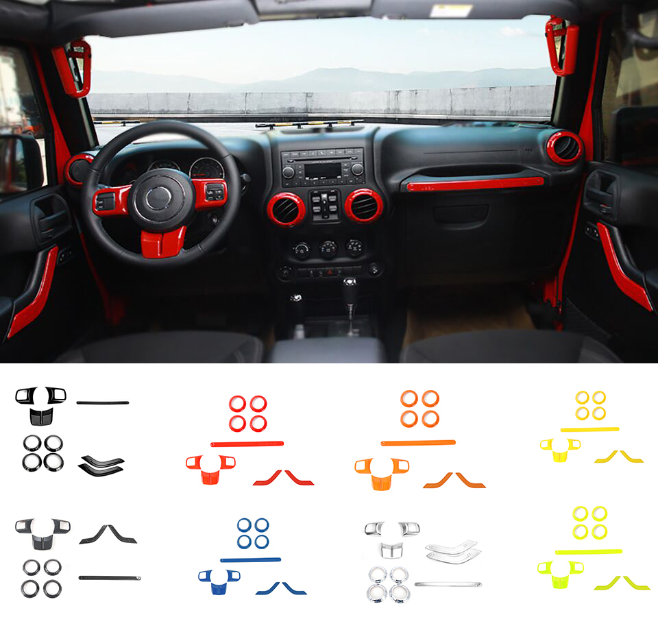 XBEEK Interior Mouldings 2 Doors 10PCS Car Steering Wheel Trim Air Condition Vent Cover Sticker For Jeep Wrangler JK 2011-2017