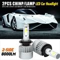 H4-three sides led chips H7 H13 H11 9005 9006 COB Car Headlight 72W 8000LM LED Car Headlights Bulb Fog Light Pure White