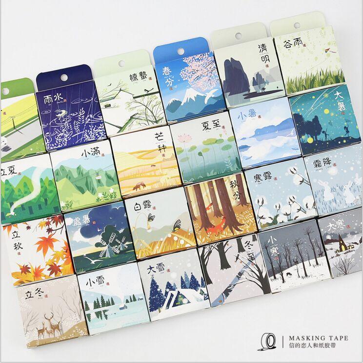Chinese Four Season 24 Solar Terms Weather Calendar Washi Tape DIY Diary Decoration Planner Scrapbook Sticker Label Masking Tape