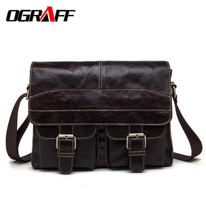 OGRAFF Genuine leather bag men messenger bags Casual Business Cowhide Shoulder Crossbody Bag Travel Laptop Briefcase Bag for Man hot selling men bag 100% genuine leather bags casual men messenger bags crossbody shoulder men travel laptop bag free shipping