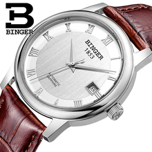 Switzerland BINGER watches men luxury brand Mechanical Wristwatches sapphire full stainless steel 1 year Guarantee B653
