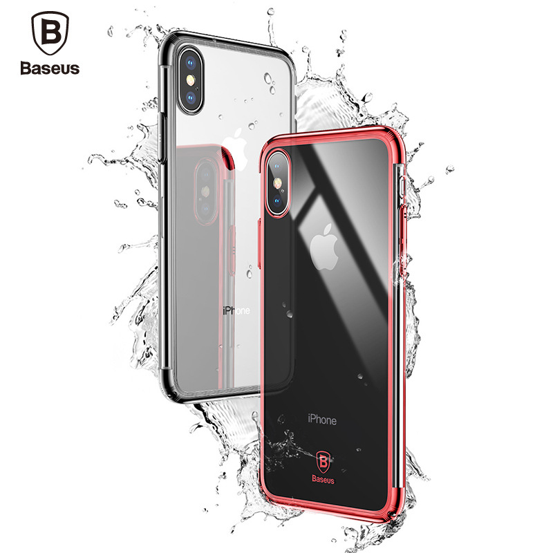 Baseus Luxury Case For iPhone X Plating Hard Plastic PC Phone Case For iPhone X Ultra Thin PC Back Cover Coque