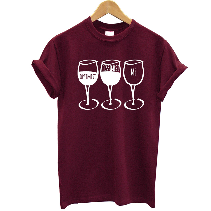 EnjoytheSpirit Women T Shirt Optimist Pessimist Me Tee Funny T-shirts 100% Cotton Hight Good Quality Plus Size Summer