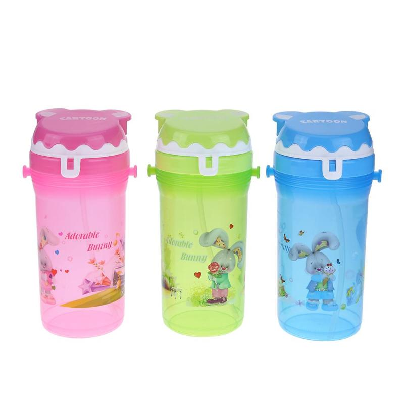 Portable Straw Kettle Plastic Outdoor Travel Water Bottle Sports Kids Child Students Cartoon Eco-friendly Children Drink Bottle