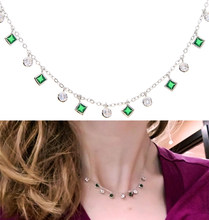 2019 New High quality czs bezel cz station statement women copper Green stone Charm pendant 33+7cm cz choker necklace thin chain(China)