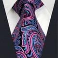 "U15 Mens Tie Pink Paisley Pattern Handmade Wedding Fashion Matching Hanky Classic Brand Dress Men's Extra Long Size 63"" Necktie"