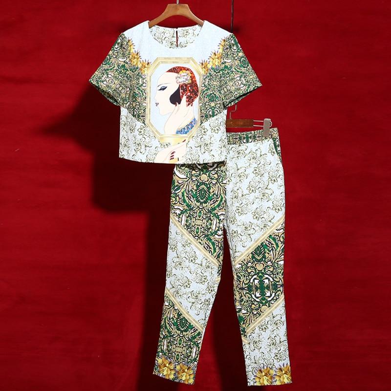 Red roosarosee 2019 디자이너 두 조각 세트 여성 짧은 소매 아름다움 인쇄 달콤한 우아한 셔츠 탑스 + 연필 바지 블라우스 정장-에서여성 세트부터 여성 의류 의  그룹 1