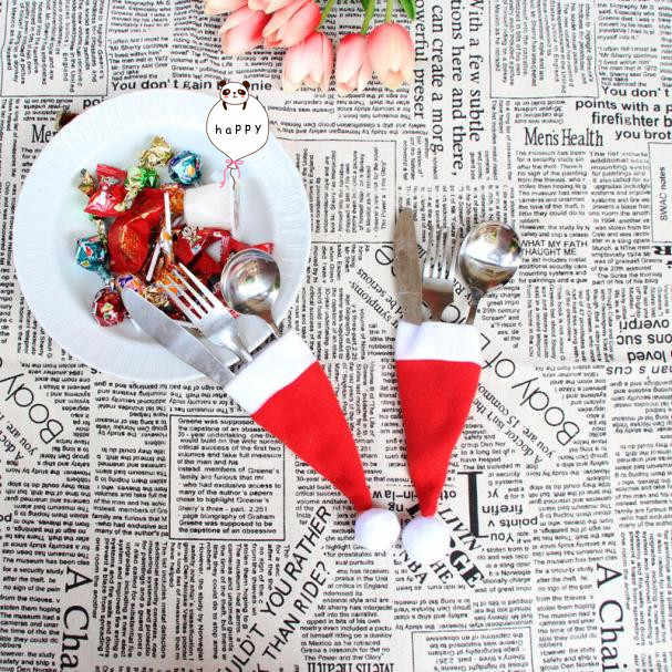Christmas Decorative tableware Knife Fork Set  Christmas Hat Storage Tool Christmas Decorations For Home C201028