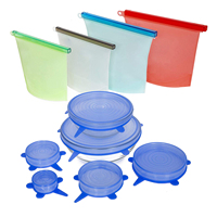 Reusable Silicone Food Storage Set by Reusable Silicone Food Bags, Reusable Silicone Food Bags 4 Pack, Silicone Stretch Lids,