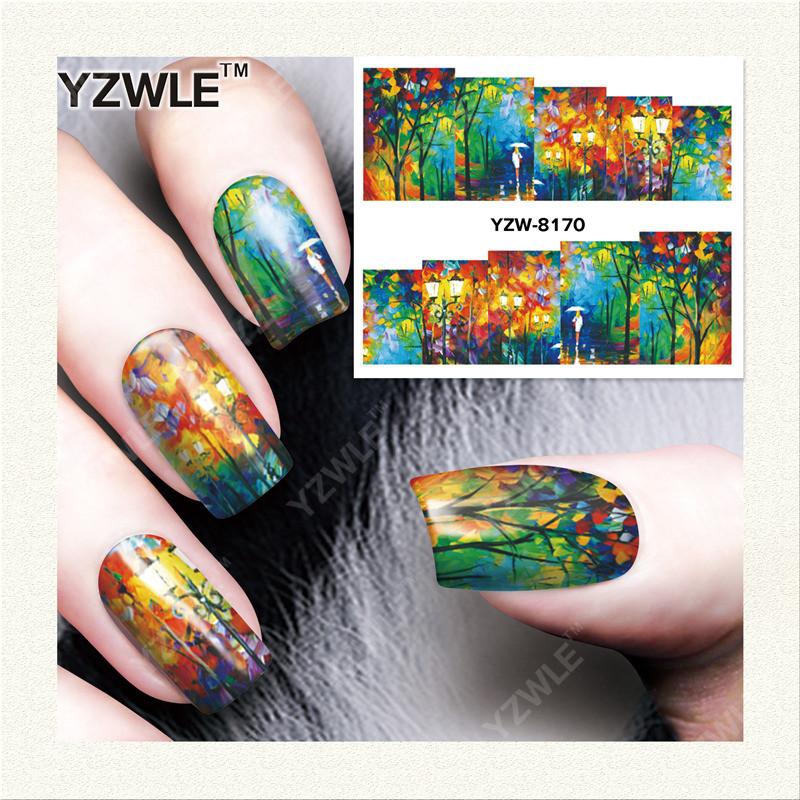 YZWLE 1 Sheet DIY Decals Nails Art Water Transfer Printing Stickers Accessories For Manicure Salon YZW-8170 yzwle 1 sheet hot gold 3d nail art stickers diy nail decorations decals foils wraps manicure styling tools yzw 6015