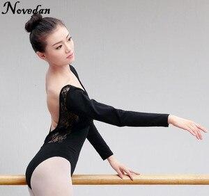Image 3 - Leotardo para danza de Ballet para mujer adulto, traje de malla de encaje con tutú, manga corta y larga, negro