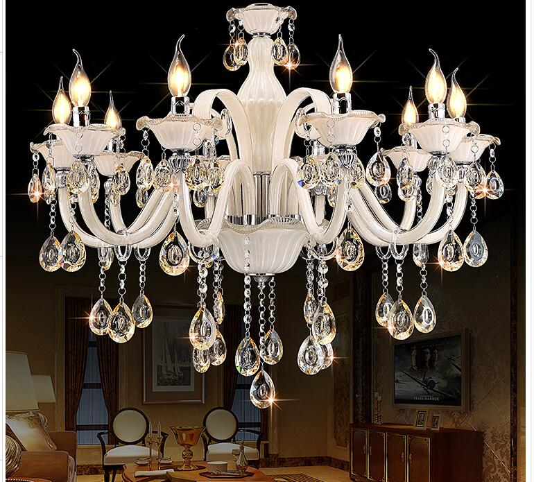 Newly White Crystal Chandelier Modern Chandelier lustres de cristal Decoration Tiffany Pendants and Chandeliers Home Lighting newly modern crystal chandelier living room lustres decoration pendants ac chandeliers crystal home lighting indoor lighting