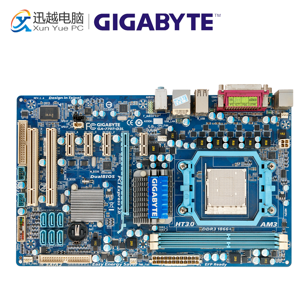 Gigabyte GA-770T-D3L Desktop Motherboard 770T-D3L 770 Socket AM3 DDR3 SATA2 USB2.0 ATX gigabyte ga ma785gmt us2h original used desktop motherboard amd 785g socket am3 ddr3 sata2 usb2 0 micro atx