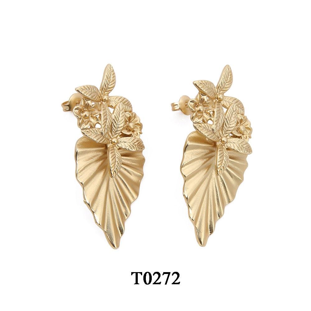 T0272A,亚金色合金镀真金耳环,大约17.5X41mm,针大约11mm