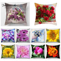 Fuwatacchi cubierta de cojín estampada Floral girasol peonía Rosa almohada cubre las almohadas decorativas estuche cojines decorativos para sof