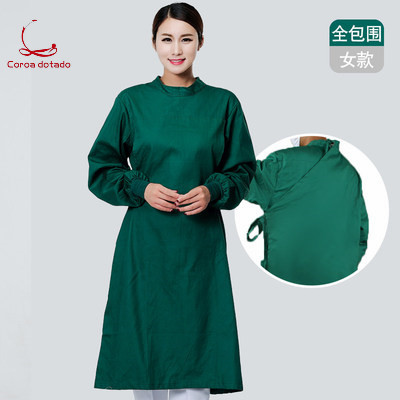 ICU full cotton thickened operating gown dark green white blue men and women long sleeve autumn and winter experiment in Scrub Sets from Novelty Special Use