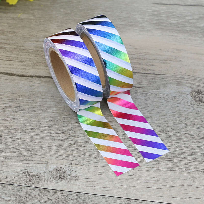 Rainbow Foil Washi Tape Paper Colorful Stripes Masking tape Decorative Adhesive Tapes for Scrapbooking Metallic Wedding 15mm*10m 1pcs 15mm 10m kawaii scrapbooking tools diy solid color white black paper washi tapes masking tape photographic tape 02492