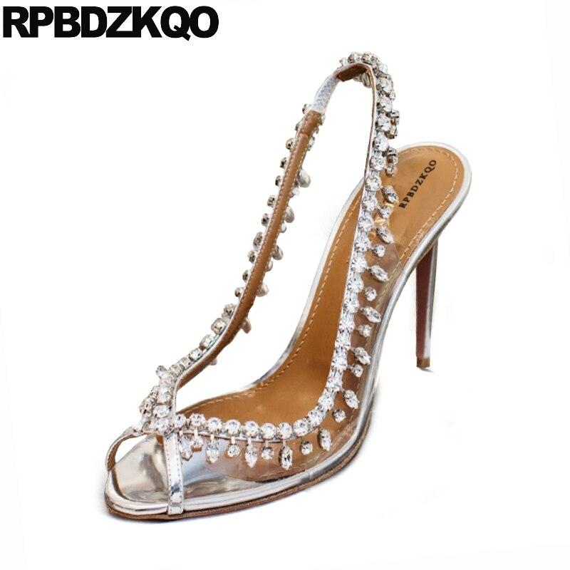 Strass Schuhe Silber Sandalen Frauen Luxus Pvc Gummi 2019 Designer Qualität Hohe Hochzeit Braut Heels Stiletto Pumpen Klar 677npaO