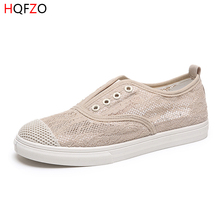 HQFZO Flat Tenis Feminino Vulcanize Platform Lace Mesh Breathable Slip On Sneaker Shoes Lady Casual Spring Summer Shoes