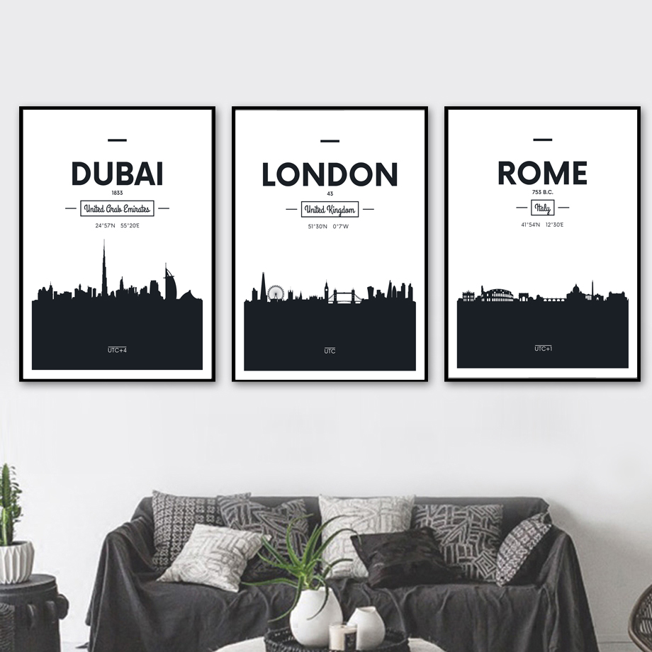 Online shop dubai rome london black and white wall art canvas painting nordic posters and prints wall pictures for living room bedroom decor aliexpress